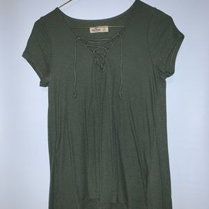 Green lace up Hollister tee